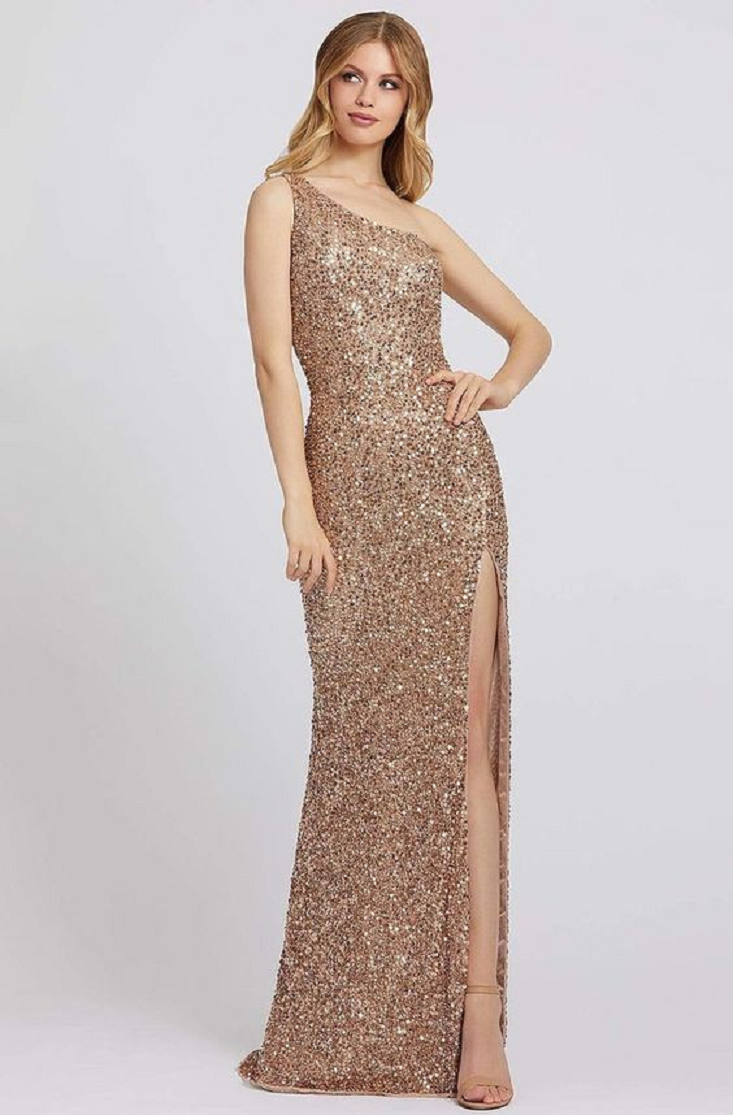 Gold sequin dresses All Over Sequined One Shoulder Evening Gown