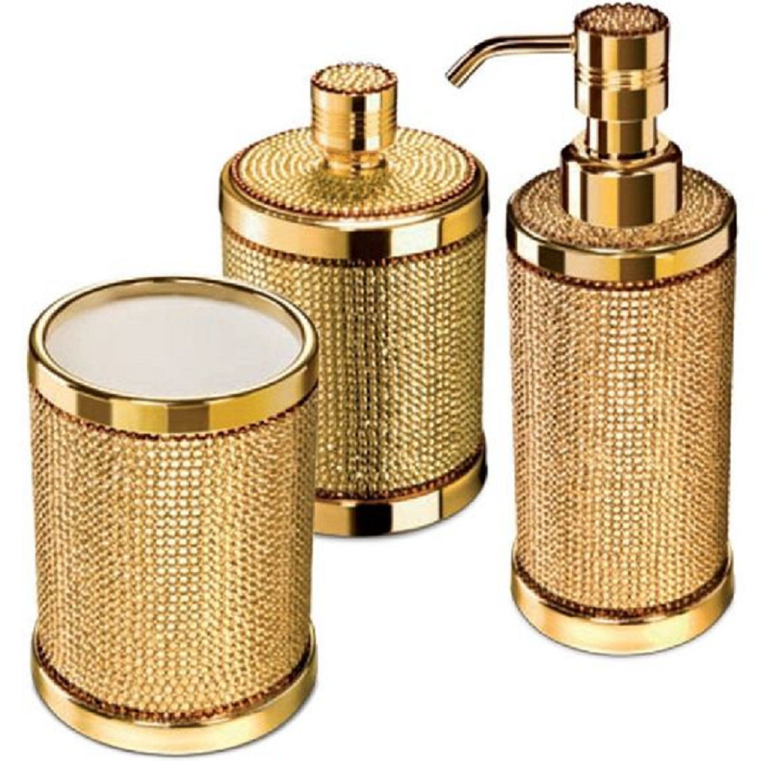 Bling for your bathroom Bling Bathroom Accessories Set With Swarovski - 3 Piece Gold