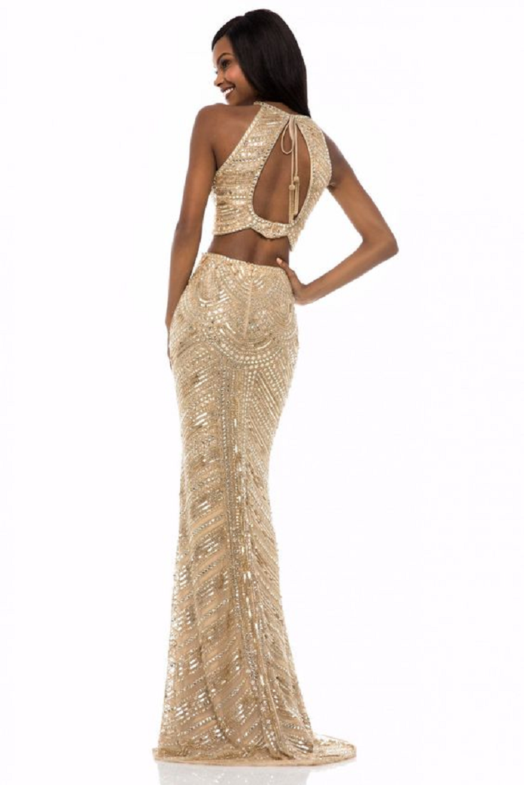 Gold sequin dresses Glittering Two-Piece Stunner Shows A Halter Neckline On A Scalloped Crop Top