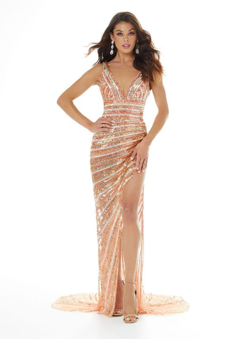 Gold sequin dresses Glittering Long Gold and Silver Stripe Sequin Gown with Deep V-Neck and High Slit