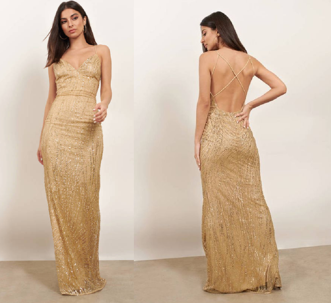 Gold sequin dresses Glitter Dust Embellished Maxi Dress in Gold Sequins with Open Back