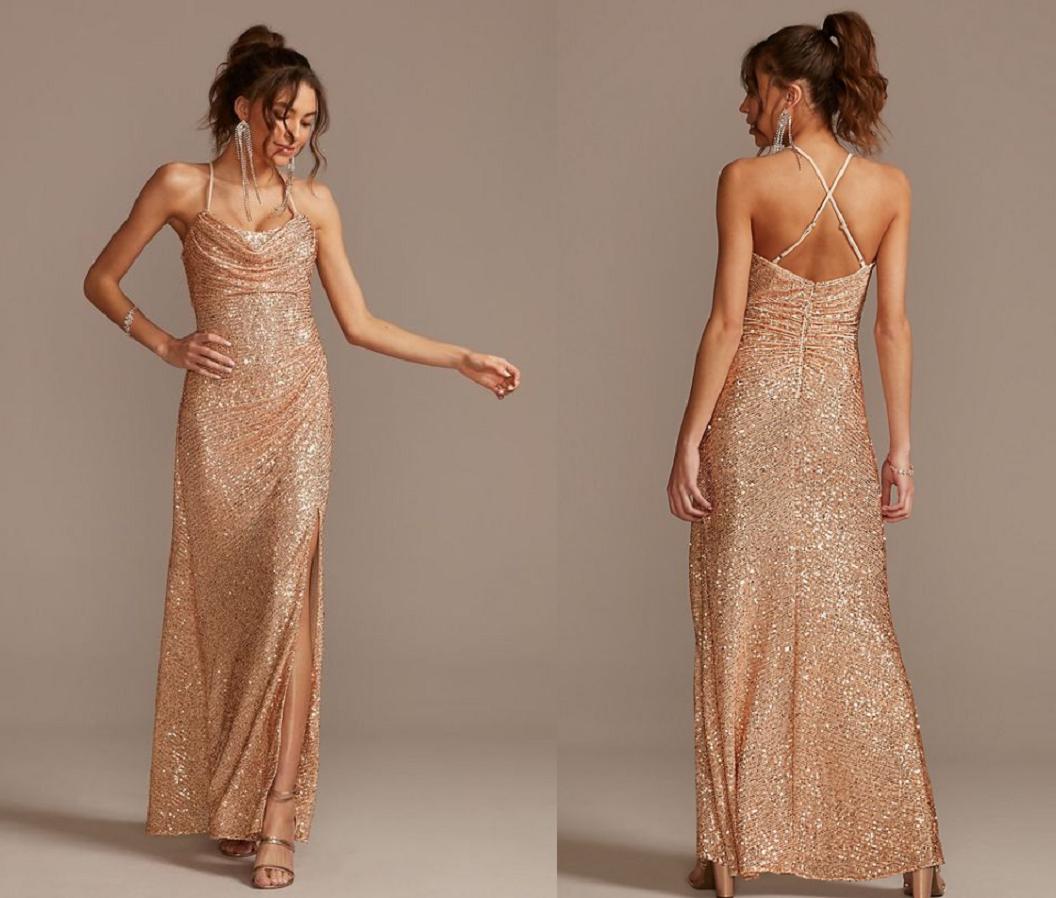 Gold sequin dressesGold Metallic Sequin Cowl Neck Slip Dress with Ruching