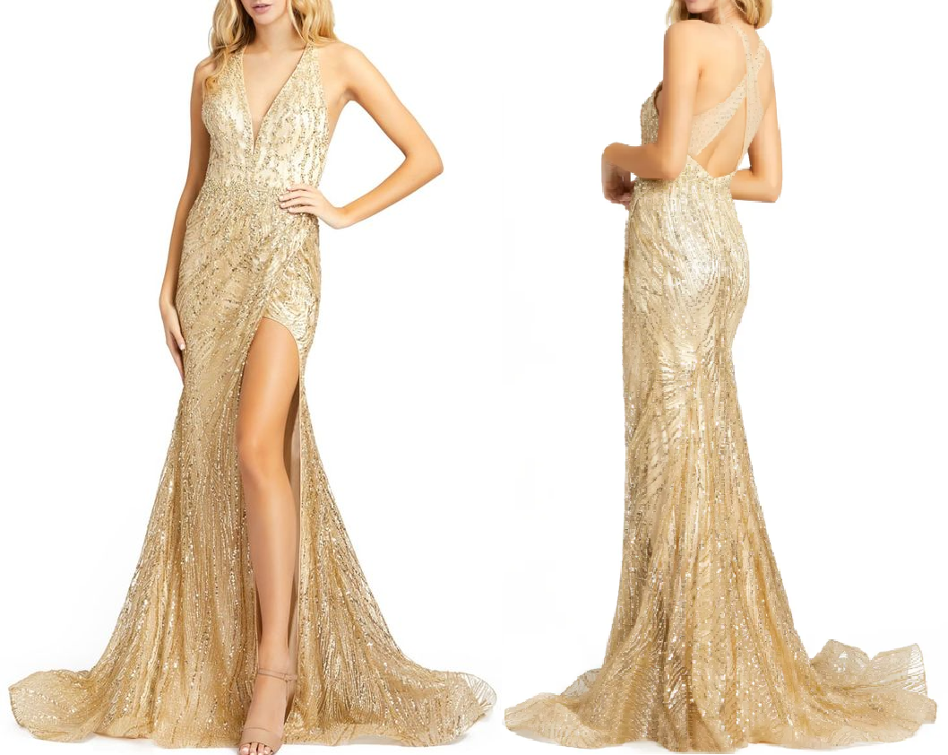 Gold sequin dresses Glittering Gown That Features A Plunging Neckline, A Low-Dipped Cross Back And A Daring Slit At One Side