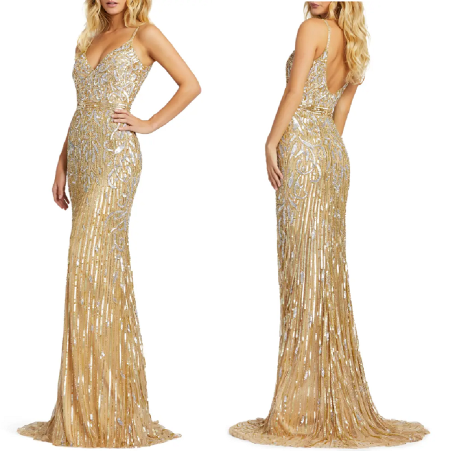 Gold sequin dresses Glittering Gown Styled with A V-Neck and Low-Dipped Back And A Skirt That Falls To The Floor In A Posh Puddle