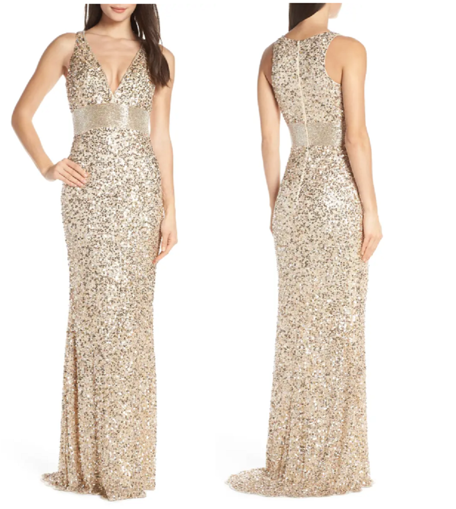 Gold sequin dresses This Dress Mixes The Striking V-Neck Column Gown with The Fiery Sparkle Allover Beading with A Dramatic Waistband