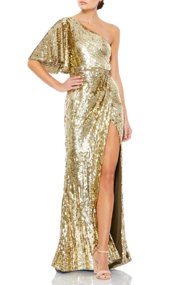 Gold sequin dresses Wrap-Style Gown with A One-Shoulder Neckline And Allover Golden Sequins