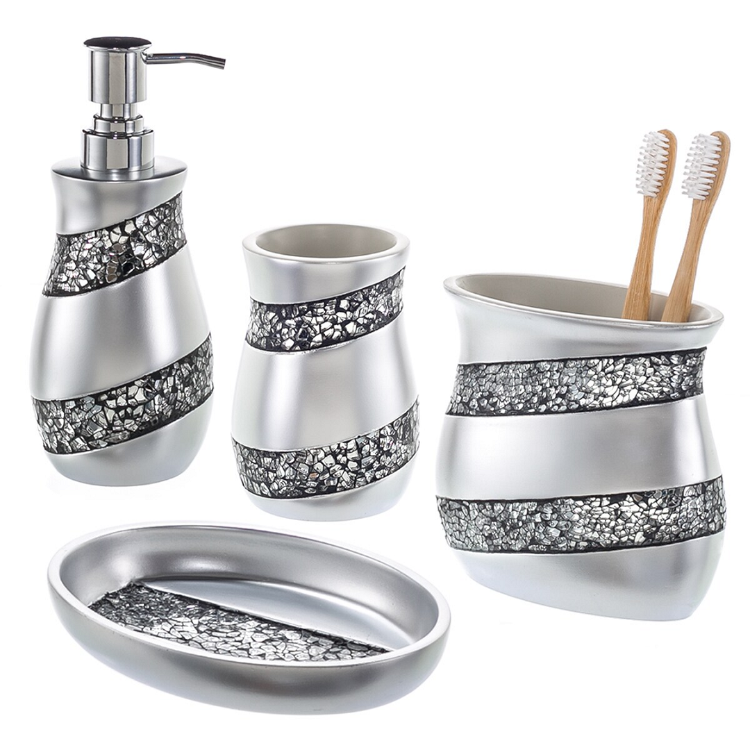 Bling for your bathroom Glittering Silver Mosaic Glass 4-Piece Bathroom Accessory Set