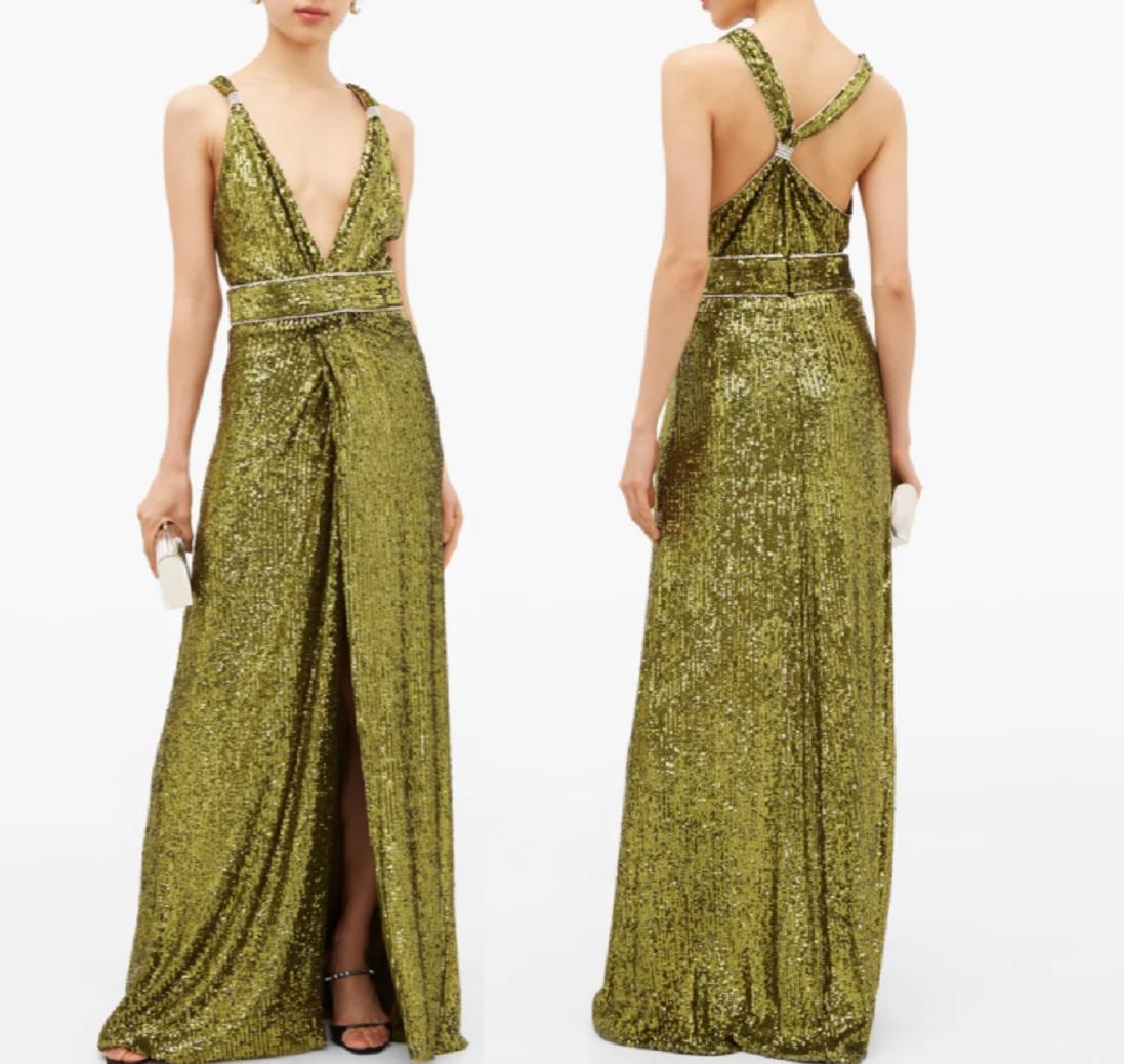 Gold sequin dresses Crystal-Embellished Sequinned V-Neck Dress with A Belted Flowing Skirt with A Deep Side Slit