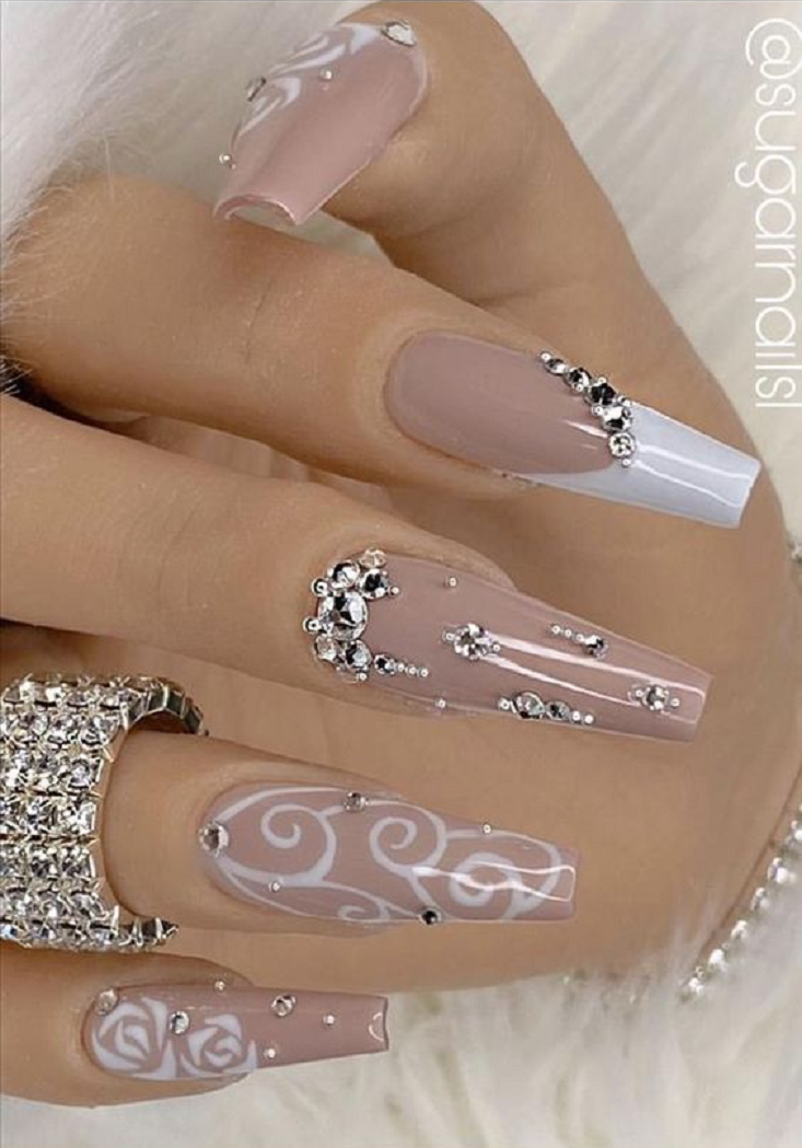 Bling fingernails Nude Colour Nail Polish with White Design and Rhinestones