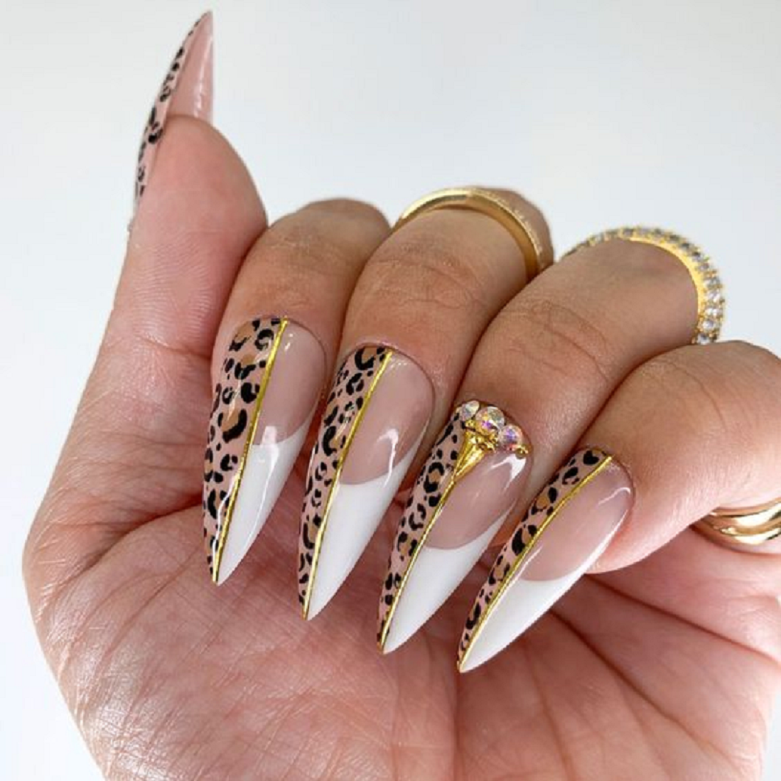 Bling fingernails Fake Long Nails with Animal Print Pattern with Rhinestones
