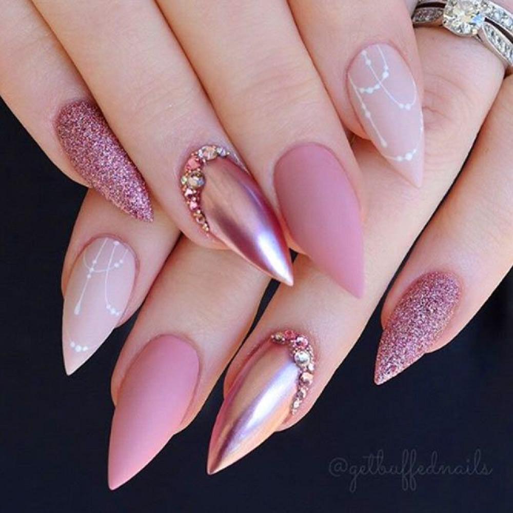 Bling fingernails Short and Sharp Nails with Pink Shade Nail Polish and Shimmering Rhinestones