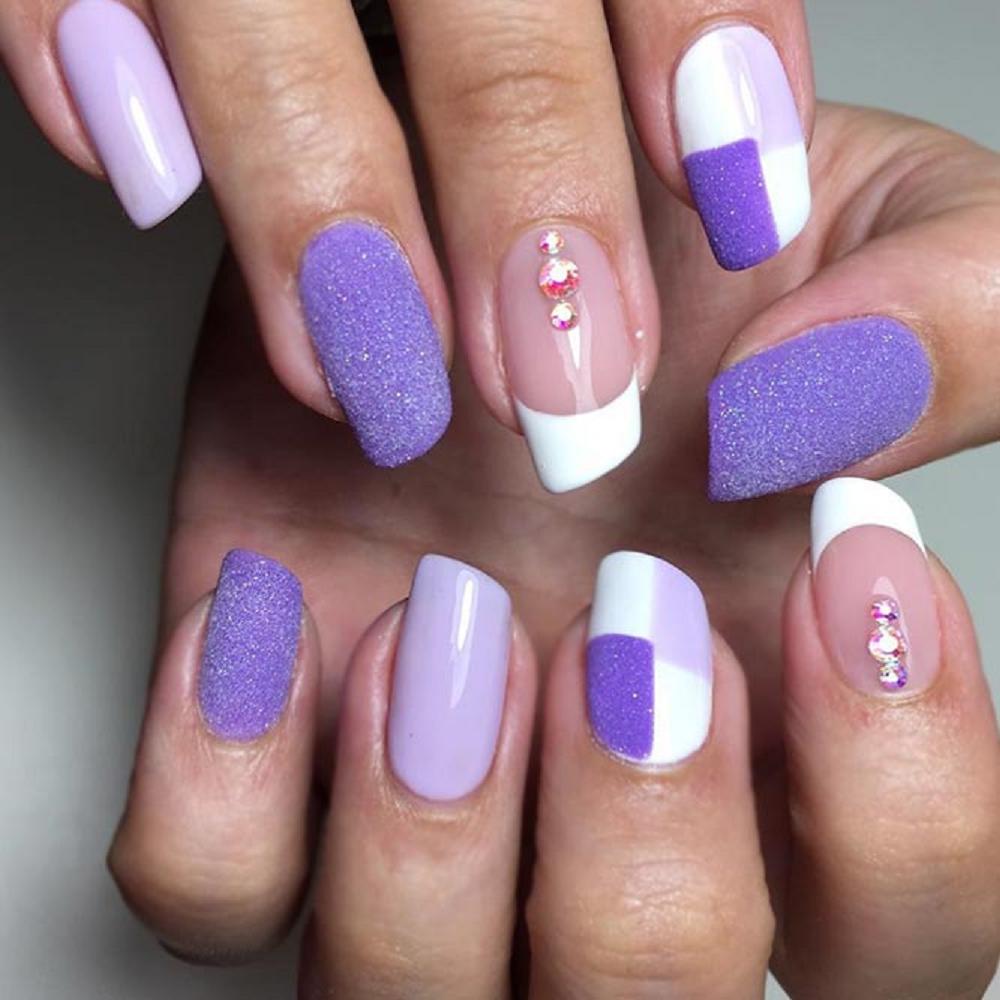 Bling fingernails Lipstick Shaped Nail Tips with Dual Color Nail Polish and Rhinestones