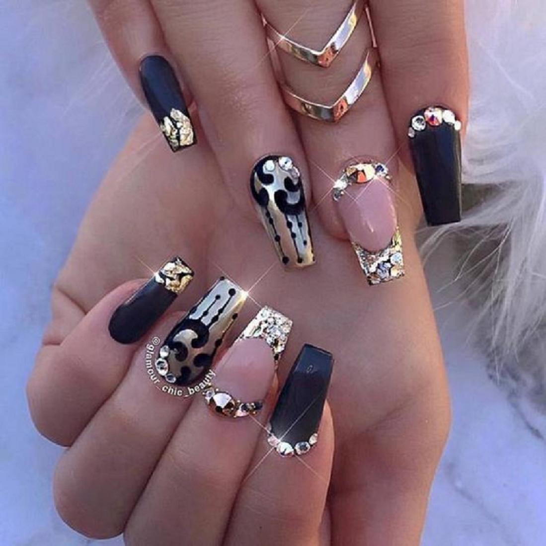 Bling fingernails Box Shaped Nail Tips with Black, Gold and Silver Nail Polish and Rhinestones