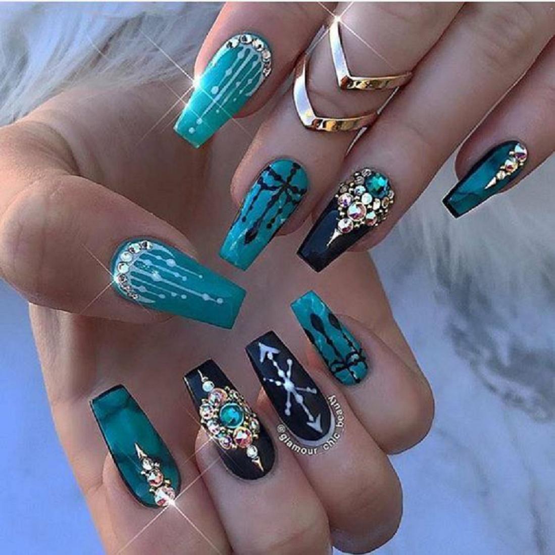 Bling fingernails Long Box Shaped Nail Tips with Green and Black Shade Nail Polish and Rhinestones