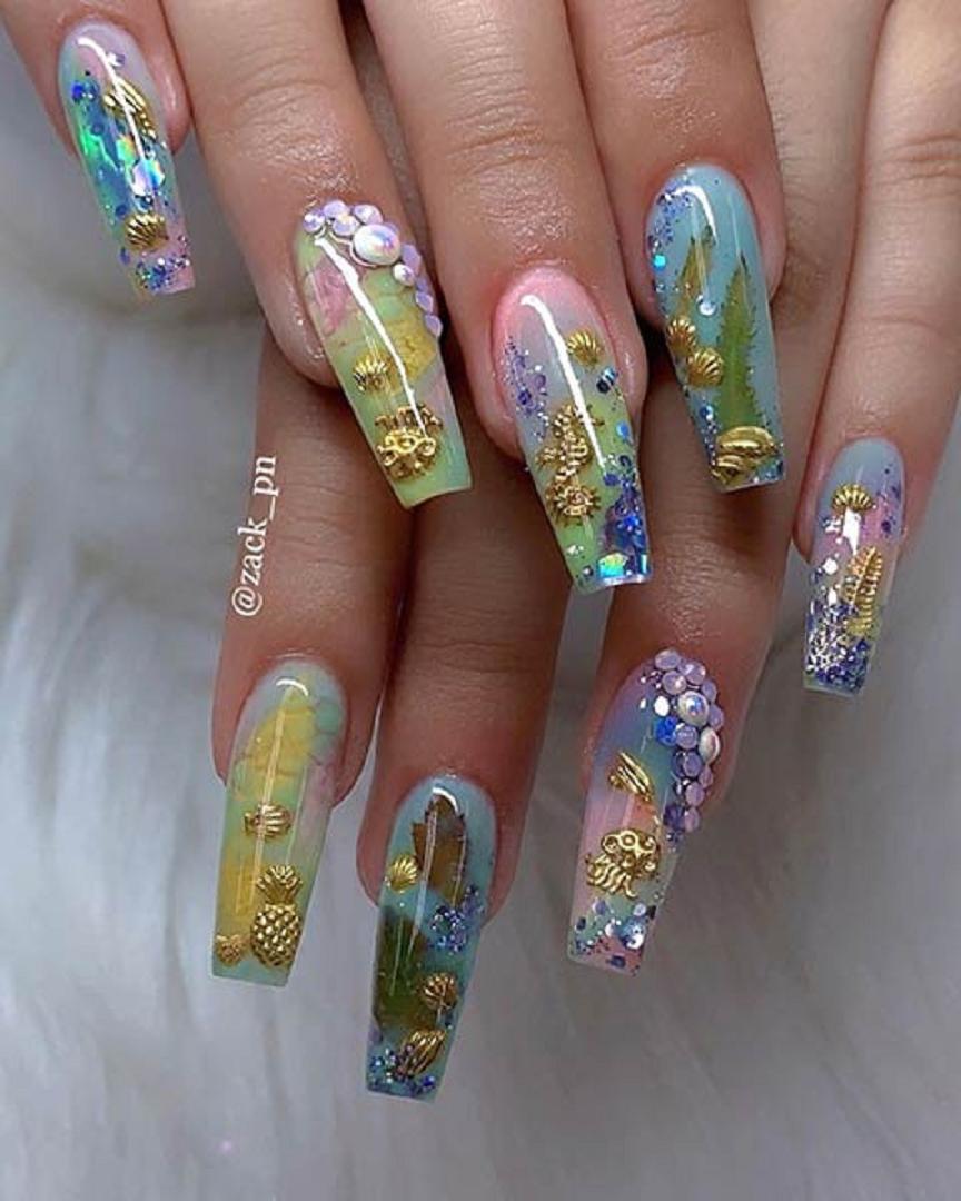 Bling fingernails Glittering Deep Under Water Inspired Nails Art with Rhinestones