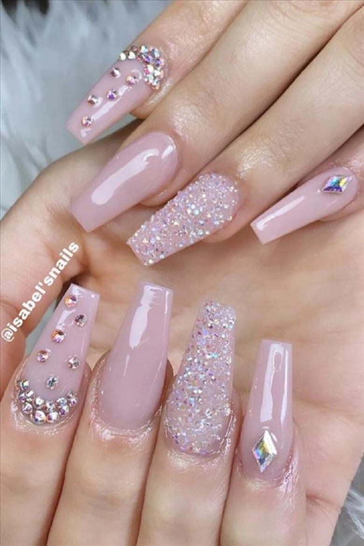 Bling fingernails Elegant Pink Coffin Nails with Glittering Rhinestones Nail Art