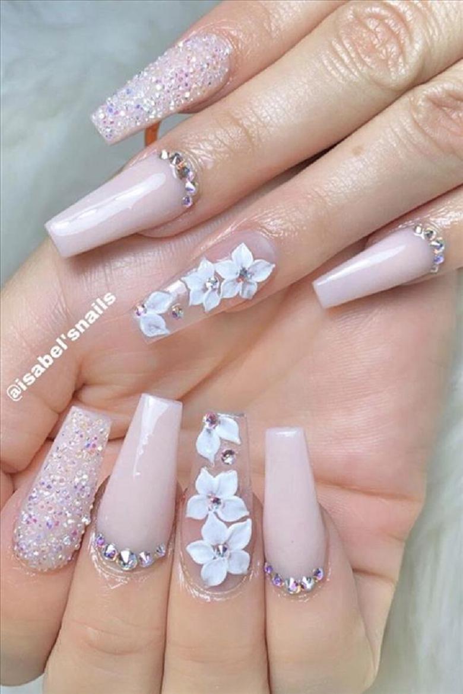 Bling fingernails Glittering Flowers Inspired Nail Art with Rhinestones