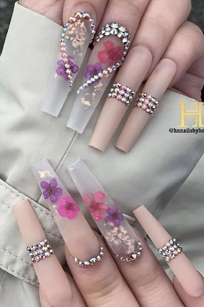 Bling fingernails Long Nails with Nude Color Nail Polish and Heart Shaped Rhinestones Design