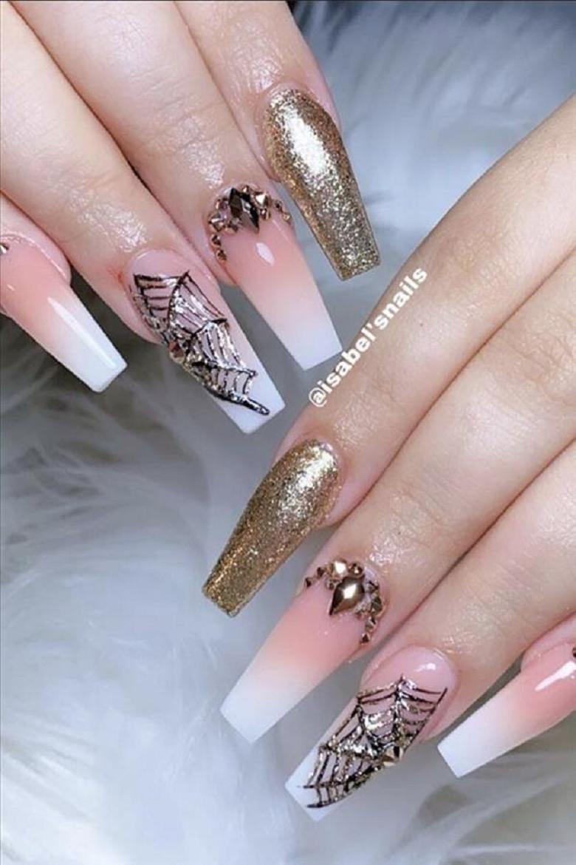 Bling fingernails Spider Web Inspired Nail Art with Rhinestones