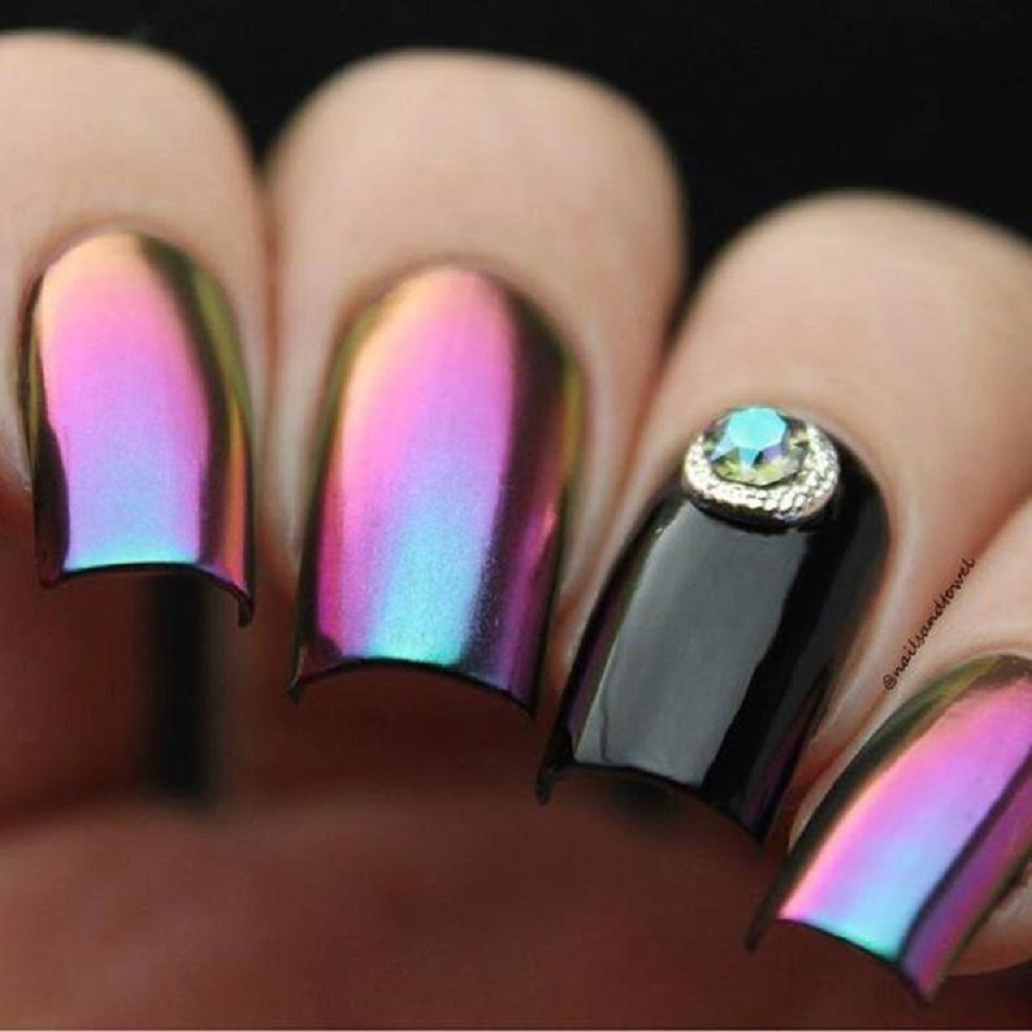 Bling fingernails Well Shaped Multi Chrome Effect Nail Polish with Rhinestones