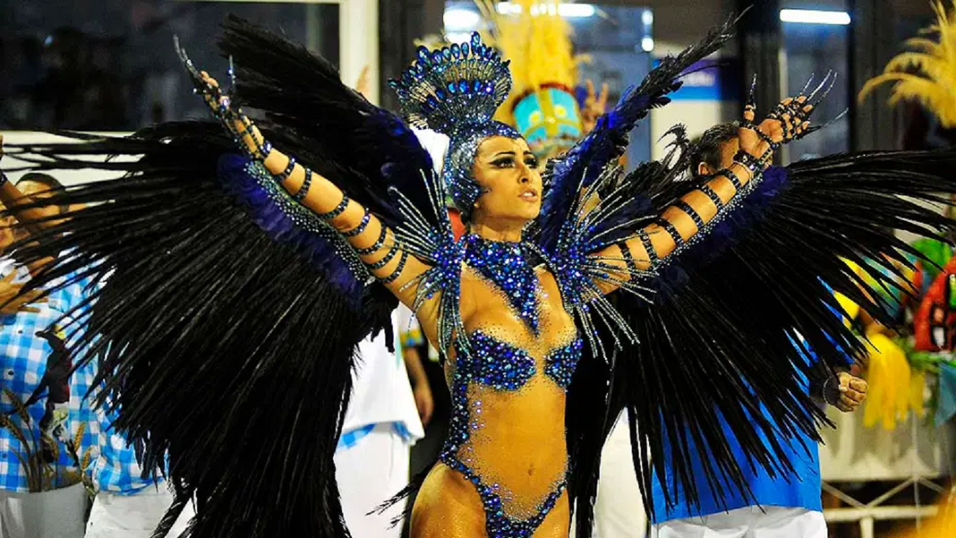 Bling carnival costumes Dark Blue Rhinestones and Beads Bodice with Feathers and Glittering Crown
