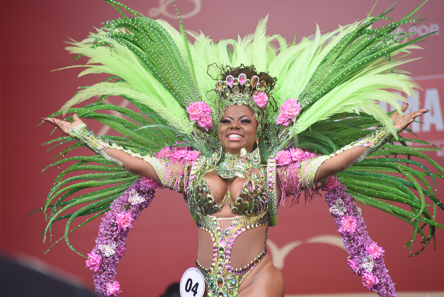 Bling carnival costumes  Nature Inspired - Floral Design Carnival Costume with Rhinestones and Crystals