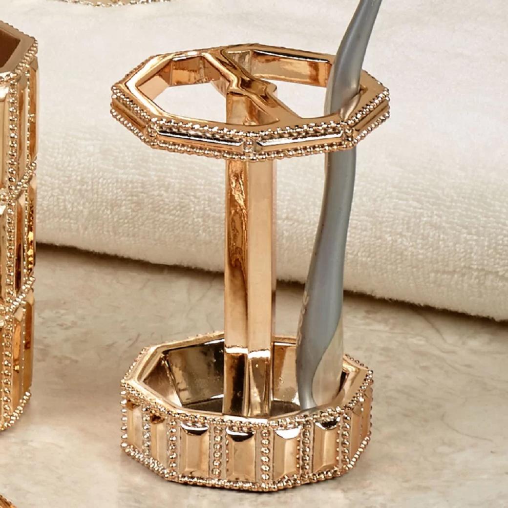Bling for your bathroom Glittering Gold Toothbrush Holder