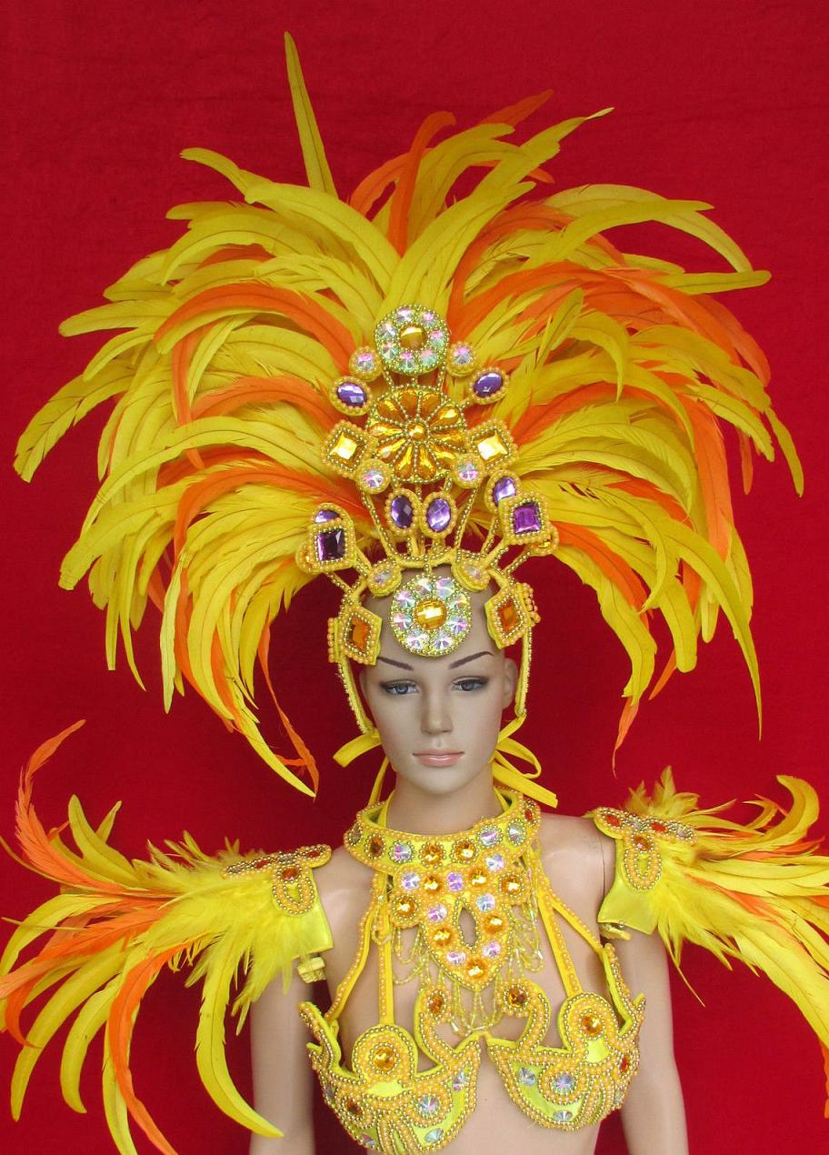 Bling carnival costumes Samba Parade Drag Carnival Rio Dancer Headdress Costume