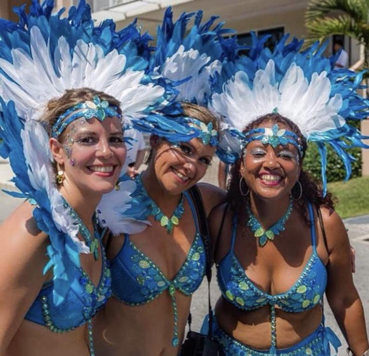 Bling carnival costumes Beautiful hand made Carnival Feathered Headpieces with Sequin and Beaded Bra