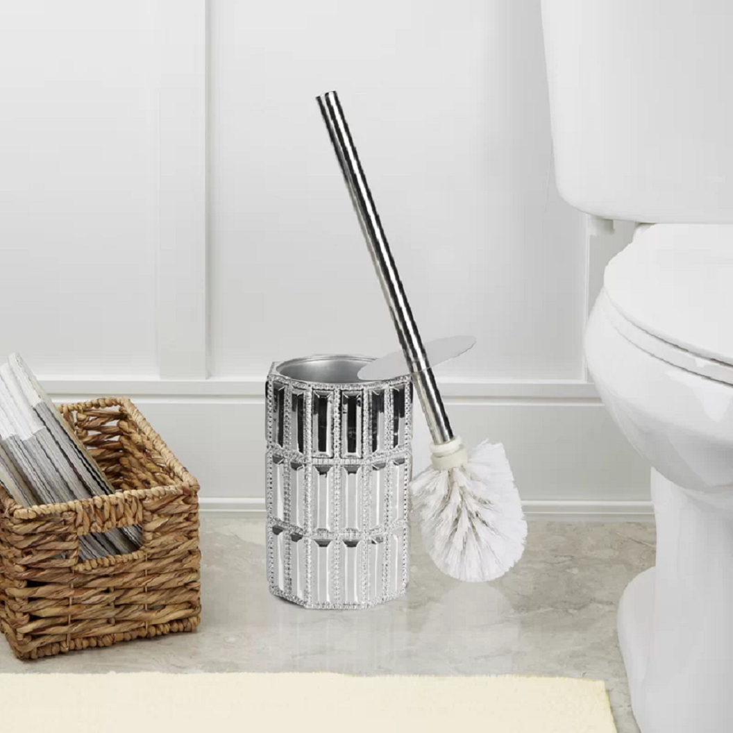 Bling for your bathroom Crystal Hands-Free Standing Toilet Brush and Holder