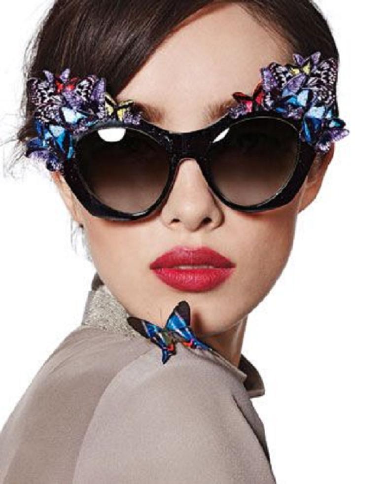 Bling sunglasses Black Cat Eye Frame Pattern Sunglasses with Glittering Butterflies