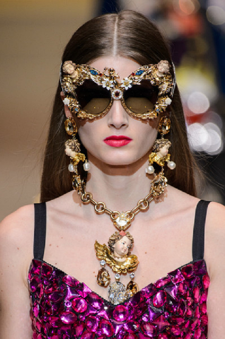 Bling sunglasses Dolce & Gabbana - Glittering Cat Eye Shades with Rhinestones and Angels Embellished