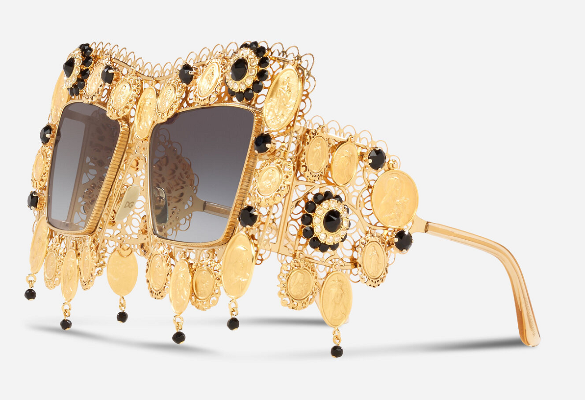 Bling sunglasses Dolce & Gabbana - Gold Metal Frame with Precious Details with Smoke Gradient Lenses