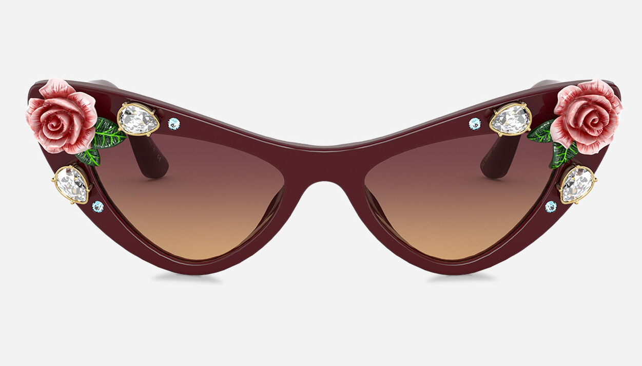 Bling sunglasses Dolce & Gabbana - Bordeaux Acetate Frame with Roses and Crystals with Orange Lense