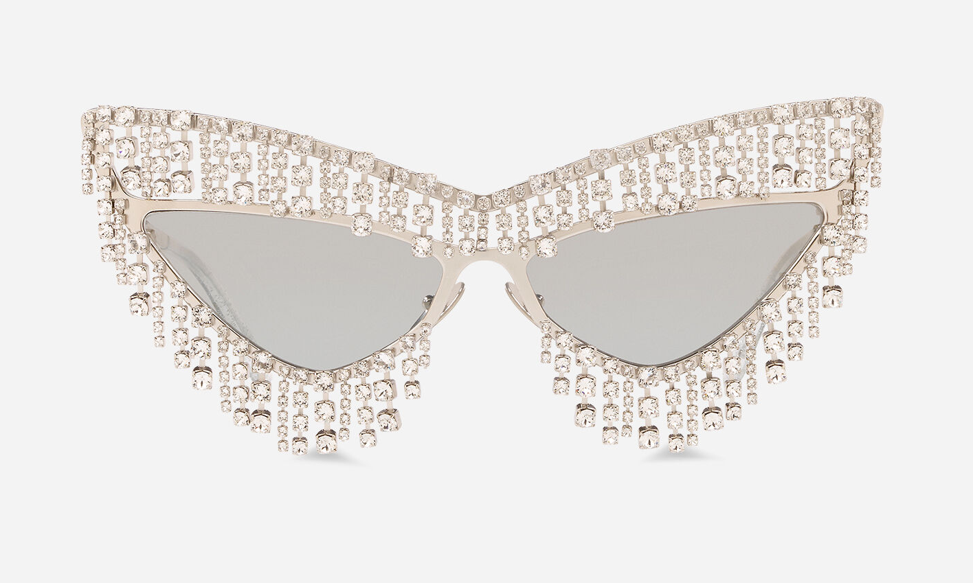Bling sunglasses Glittering Silver Metal Frame with Pendant Crystals with Mirrored Silver Gradient Lenses