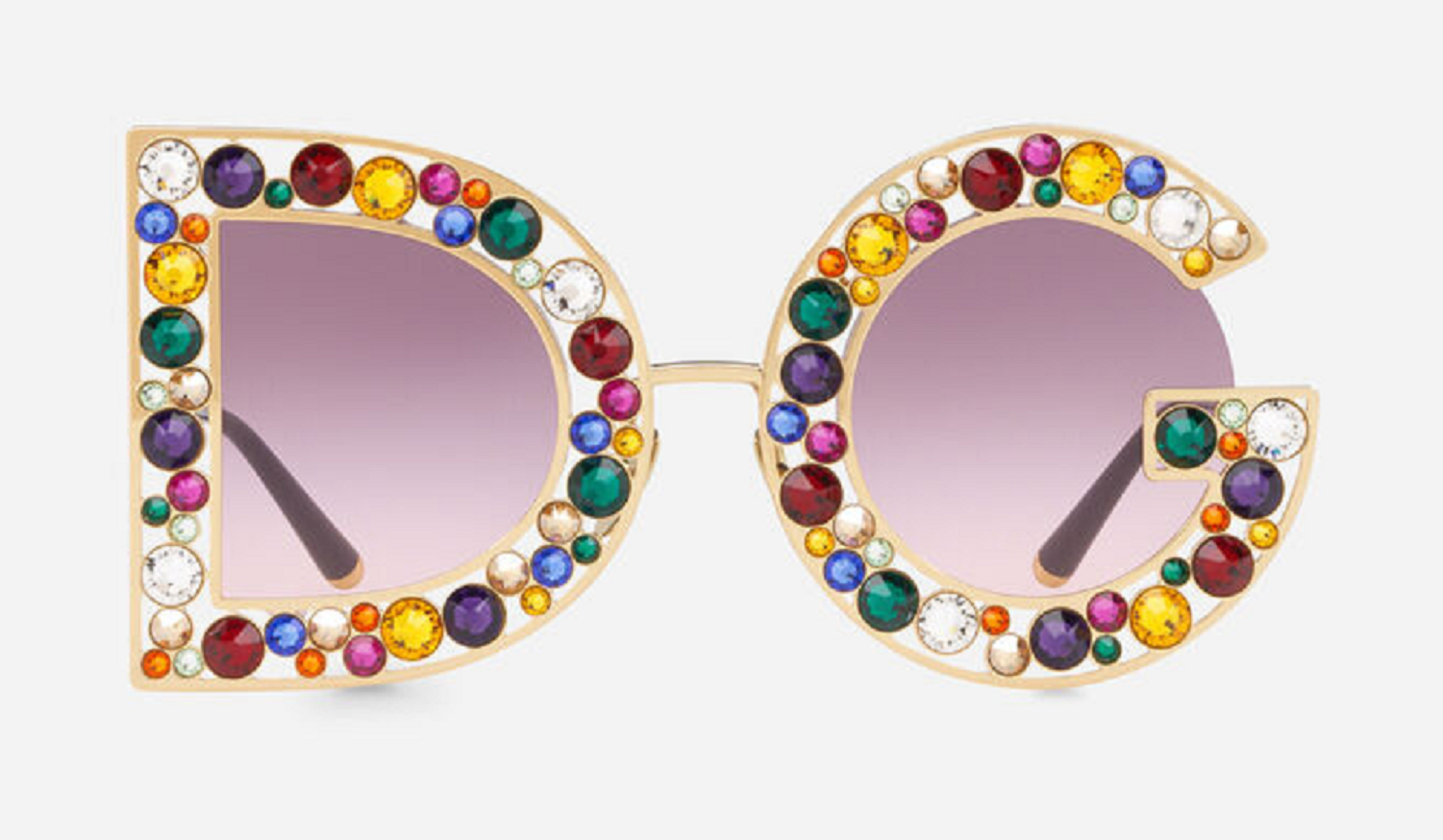 Bling sunglasses D&G Obsessed Shimerring Gold Metal Frame with Shiny Multicolor Crystals