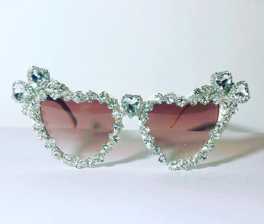 Bling sunglasses Bride Festival Silver Heart Shaped Sunglasses Embellished with Rhinestones