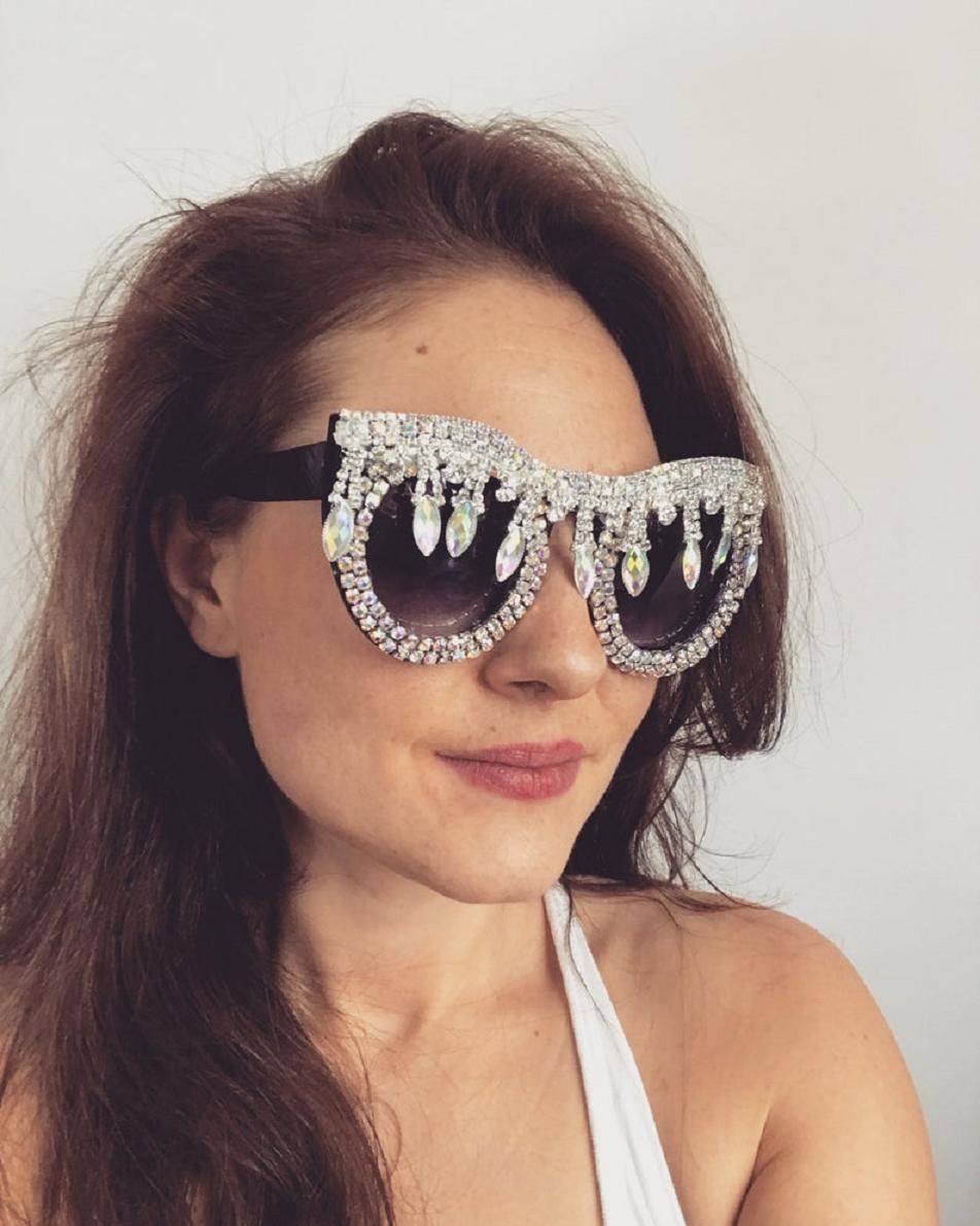Bling sunglasses Black Festival Resort Embellished Oversized Sunglasses Eyewear