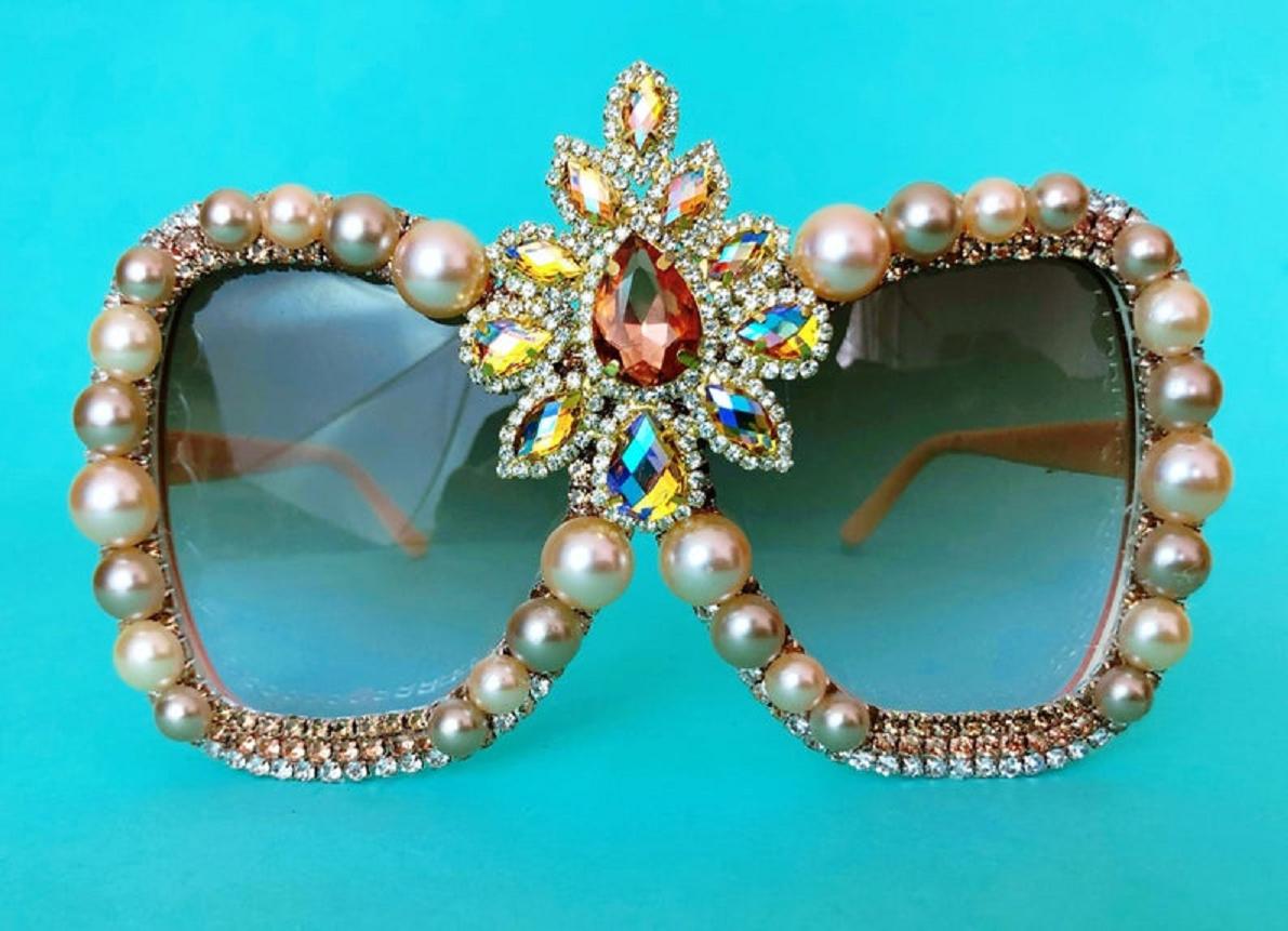 Bling sunglasses Glittering Oversized Big Frame Retro Butterfly Rose Gold Amber Coffe Rhinestones Sunglasses