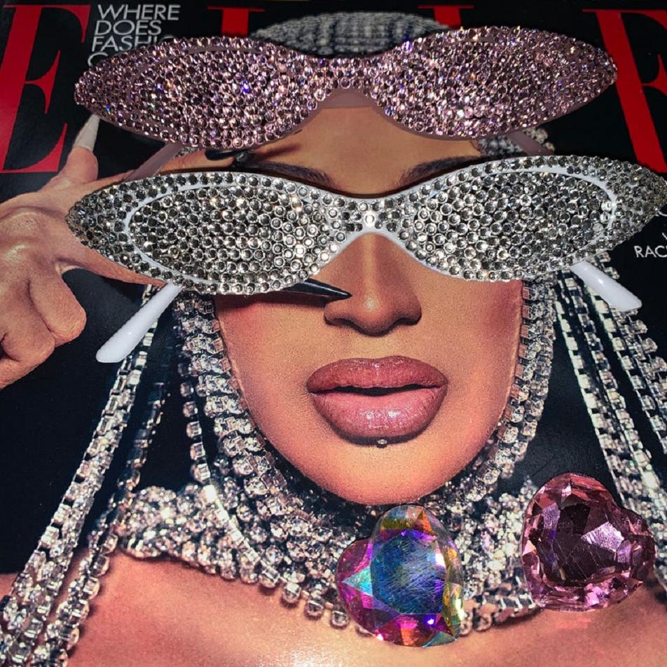 Bling sunglasses Naomi Sunnies Festival Party Clear Crystal Diamante Jeweled Trendy Retro Sunglasses