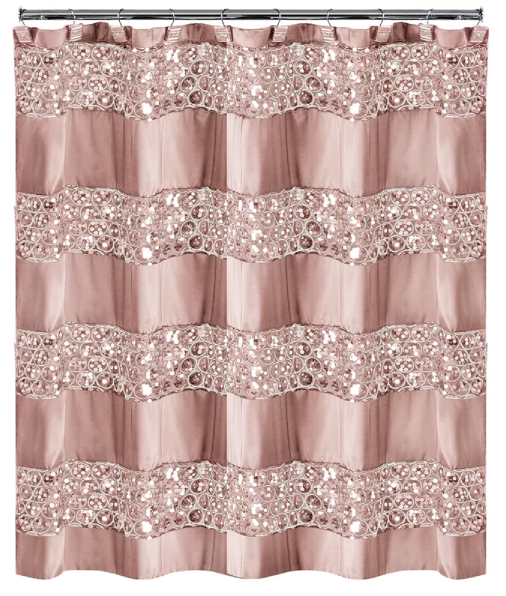 Bling for your bathroom Glittering Sequin Striped Single Shower Curtain