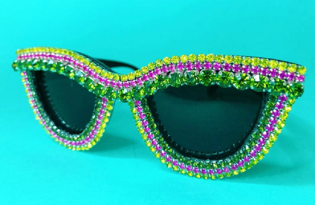 Bling sunglasses Neon Pink Yellow Green Rhinestones Embellished Jewelled Cat Eye Retro Style Sunnies