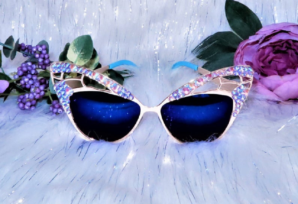 Bling sunglasses Purple Festival Butterfly Bling Frame with Mirror Lens Embellished Shades