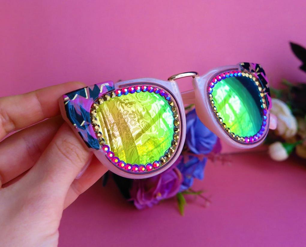 Bling sunglasses Steampunk Goggles Swarovski Vintage Eyewear Bling