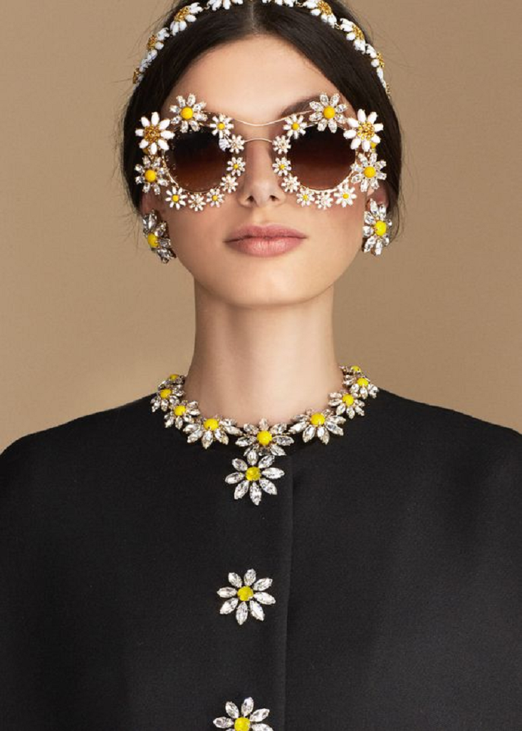 Bling sunglasses Glittering Dolce & Gabbana Flowers Inspired Spring Collection with Rhinestones Round Sun Glasses