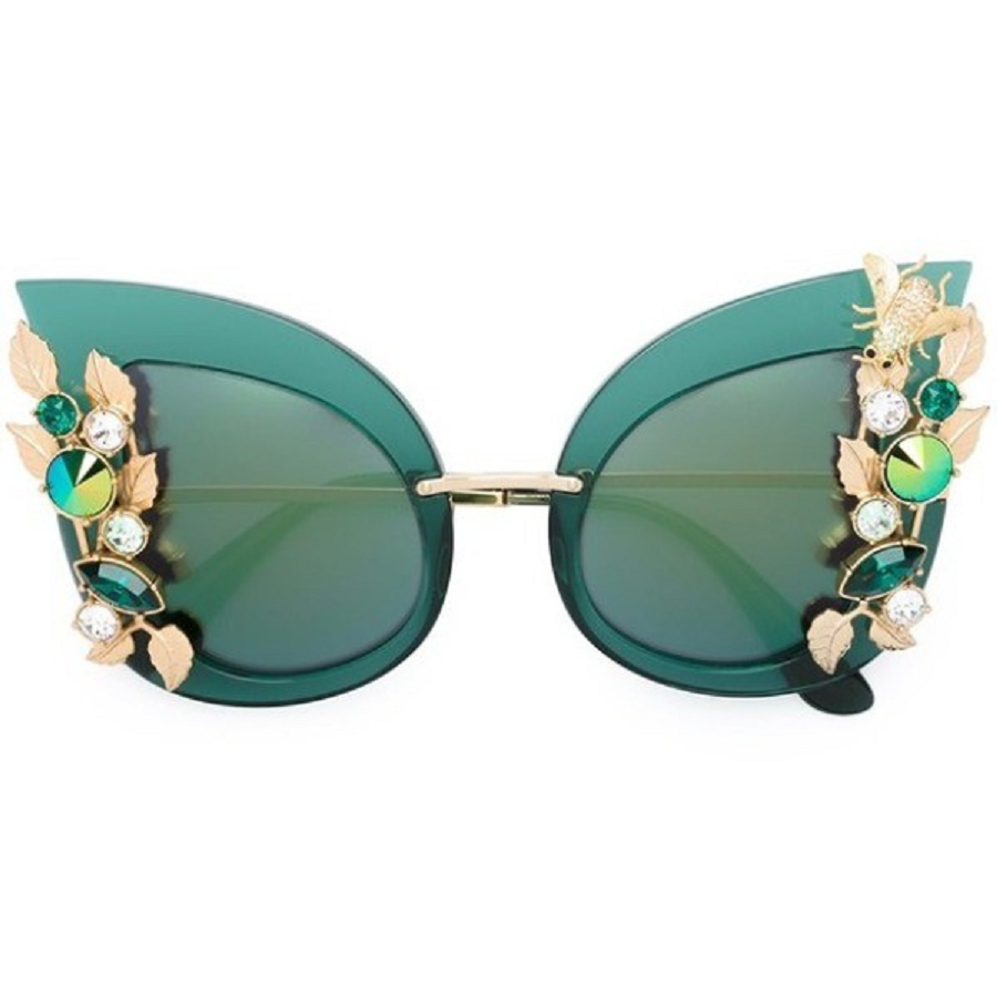 Bling sunglasses Glittering Green Butterfly Shaped Sun Glasses with Embedded Rhinestones and Green Lenses