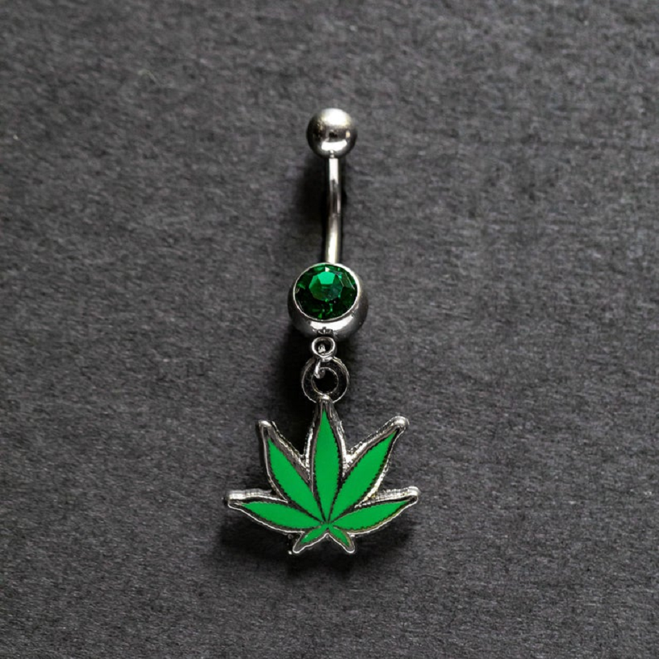 Belly Ring Bling: Pot Leaf Belly Button Piercing Ring with Gemstone
