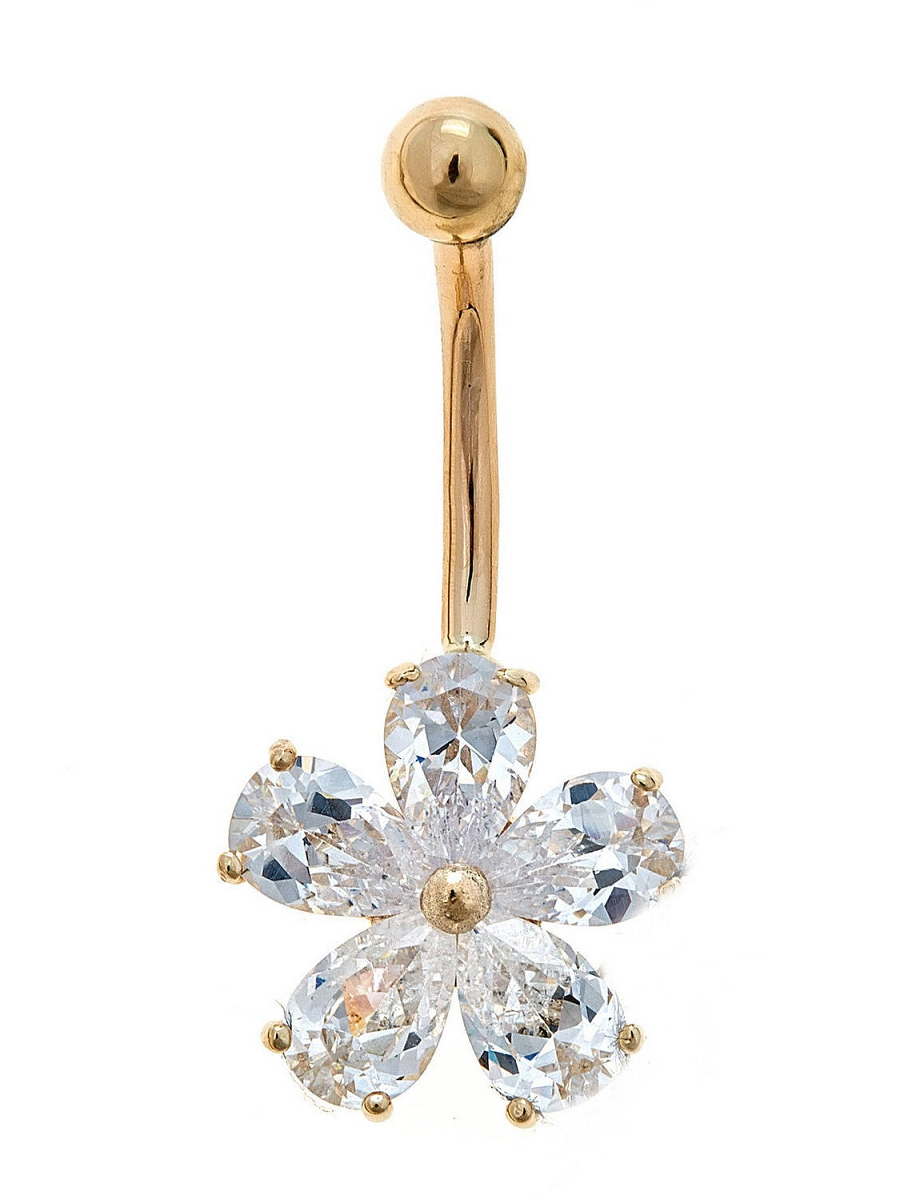 Belly Ring Bling: 10kt Solid Yellow Gold Belly Ring With Flower Shaped Cz Design
