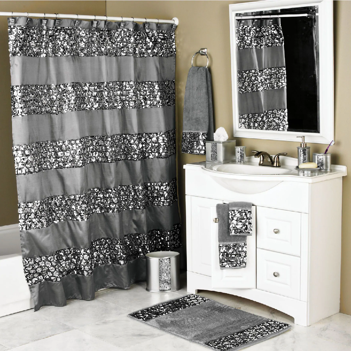 Bling for your bathroom Matching Sequin Shower, Bath Towel, Face Towel and Foot Mat