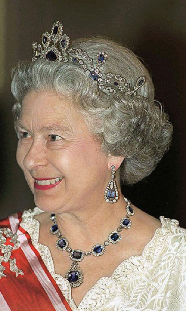 Royal bling Queen Elizabeth II Wearing Her Saphire and White Diamond Tiara with Matching Necklace and Earrings